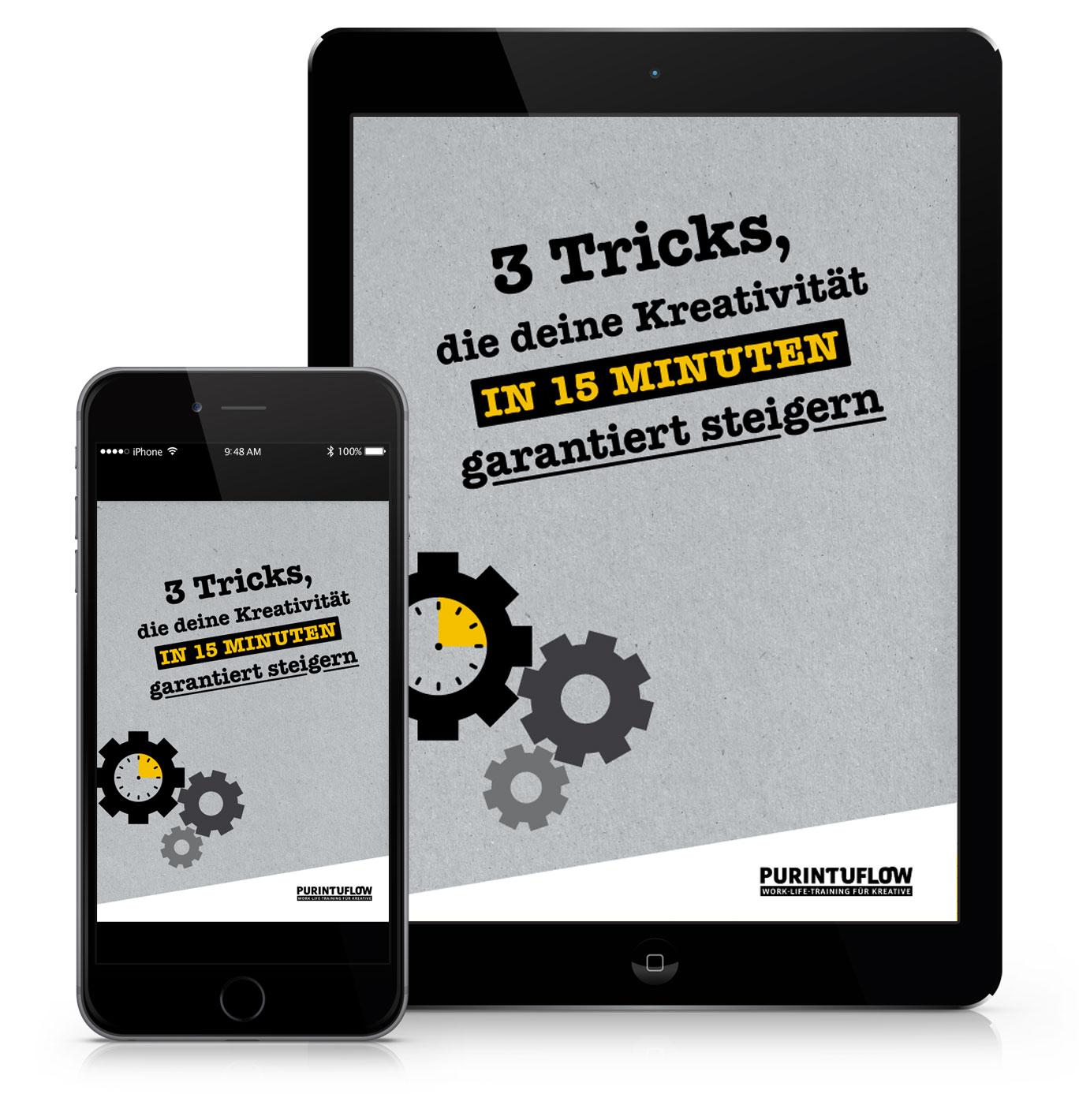 E-Book: 3 Tricks, die dein Kreativität in 15 Minuten garantiert steigern!